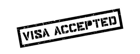 obtain: Visa accepted rubber stamp on white. Print, impress, overprint.