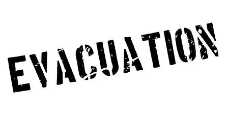 evacuation: Evacuation rubber stamp on white. Print, impress, overprint. Illustration