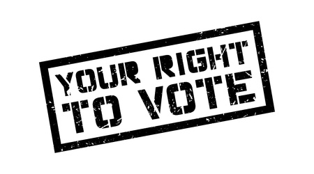 viewpoints: Your right to vote rubber stamp on white. Print, impress, overprint.