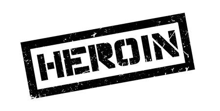 heroin: Heroin rubber stamp on white. Print, impress, overprint.