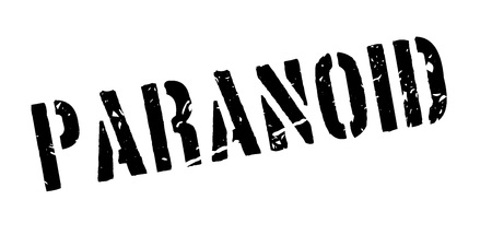 paranoid: Paranoid rubber stamp on white. Print, impress, overprint.