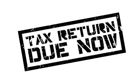 owe: Tax return due now rubber stamp on white. Print, impress, overprint.