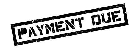 over paying: Payment due rubber stamp on white. Print, impress, overprint.
