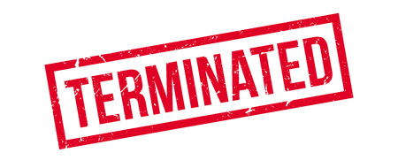 ceased: Terminated rubber stamp on white. Print, impress, overprint.