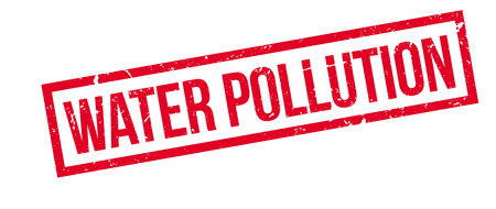 pollutant: Water pollution rubber stamp on white. Print, impress, overprint.