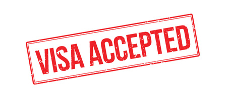 authorisation: Visa accepted rubber stamp on white. Print, impress, overprint.