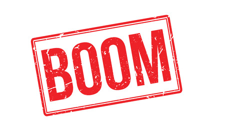 booming: Boom rubber stamp on white. Print, impress, overprint. Illustration