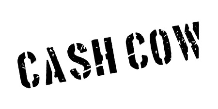 profiting: Cash cow rubber stamp on white. Print, impress, overprint. Illustration