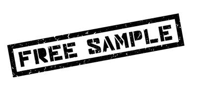 unpaid: Free sample rubber stamp on white. Print, impress, overprint. Illustration