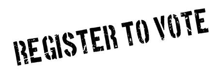 Register to vote rubber stamp on white. Print, impress, overprint. Ilustração