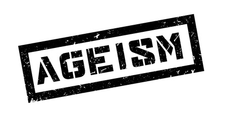 politically: Ageism rubber stamp on white. Print, impress, overprint.
