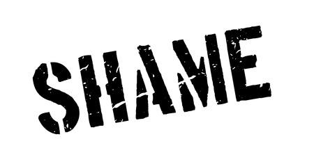irritation: Shame rubber stamp on white. Print, impress, overprint.