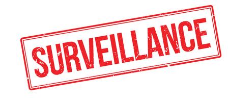 totalitarianism: Surveillance rubber stamp on white. Print, impress, overprint. Illustration