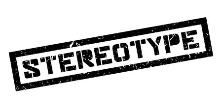 stereotypical: Stereotype rubber stamp on white. Print, impress, overprint.