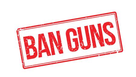 boycott: Ban guns rubber stamp on white. Print, impress, overprint.