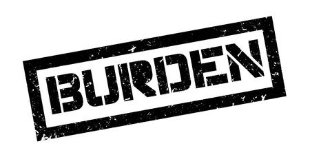 burden: Burden rubber stamp on white. Print, impress, overprint.
