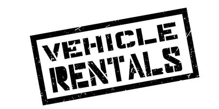 rentals: Vehicle rentals rubber stamp on white. Print, impress, overprint.