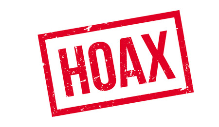 faked: Hoax rubber stamp on white. Print, impress, overprint.
