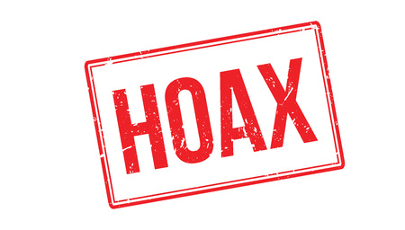 hoax: Hoax rubber stamp on white. Print, impress, overprint.