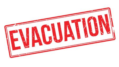 evacuacion: Sello de goma de evacuaci�n en blanco. Imprimir, impresionar, sobreimpresi�n.