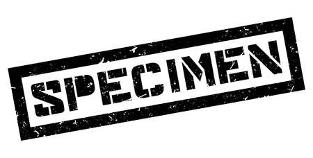 specimen: Specimen rubber stamp on white. Print, impress, overprint. Illustration