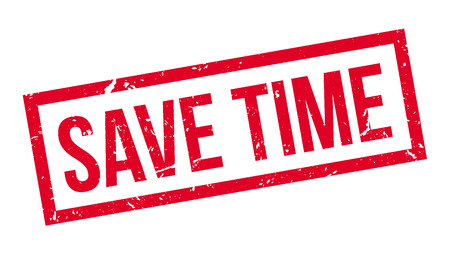 save time: Save time rubber stamp on white. Print, impress, overprint.