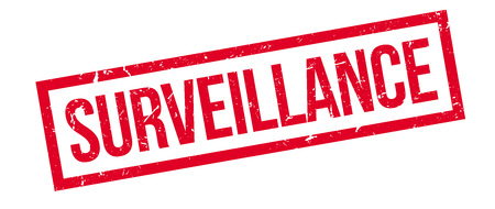 Surveillance rubber stamp on white. Print, impress, overprint. Illustration
