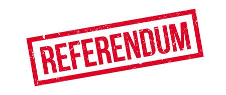 mandate: Referendum rubber stamp on white. Print, impress, overprint. Illustration