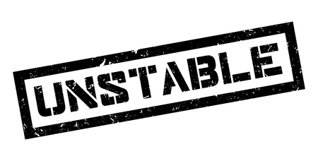 unstable: Unstable rubber stamp on white. Print, impress, overprint.