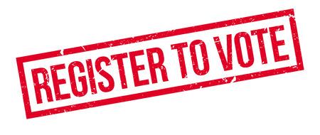 suffrage: Register to vote rubber stamp on white. Print, impress, overprint. Illustration