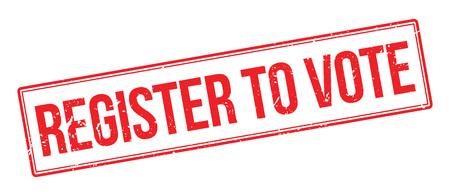 fairly: Register to vote rubber stamp on white. Print, impress, overprint. Illustration