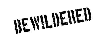 baffle: Bewilderubber rubber stamp on white. Print, impress, overprint. Illustration