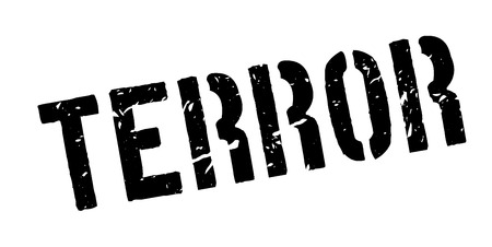 terror: Terror rubber stamp on white. Print, impress, overprint. Illustration