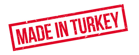 made manufacture manufactured: Made in turkey rubber stamp on white. Print, impress, overprint.