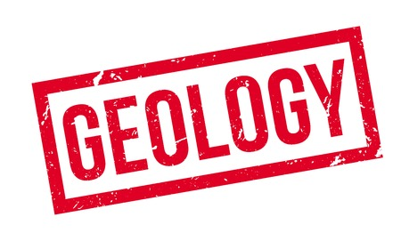 geological: Geology rubber stamp on white. Print, impress, overprint. Illustration