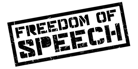 declare: Freedom of speech rubber stamp on white. Print, impress, overprint.