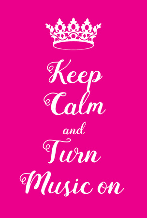 world war two: Keep Calm and Turn Music on poster. Adaptation of the famous World War Two motivational poster of Great Britain.