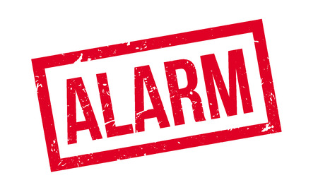 alarming: Alarm rubber stamp on white. Print, impress, overprint. Alert sign, anti burglar device installed. Property secure, anti theft security system.