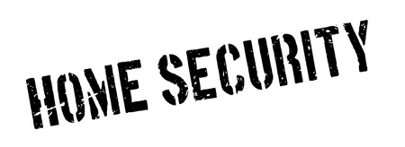 theft: Home Security rubber stamp on white. Print, impress, overprint. Sign of security system working, property protection. Anti theft alarm, safeguard. Cameras and alarm.