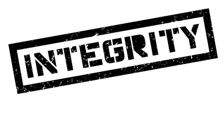 righteous: Integrity rubber stamp on white. Print, impress, overprint.