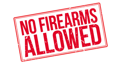 not permitted: No Firearms Allowed rubber stamp on white. Print, impress, overprint. Illustration