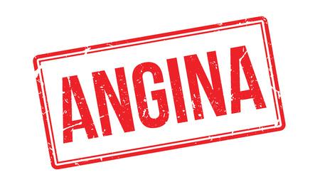 angina: Sello de goma de la angina de pecho en blanco. Imprimir, impresionar, sobreimpresión.
