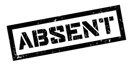 absentee: Absent rubber stamp on white. Print, impress, overprint.