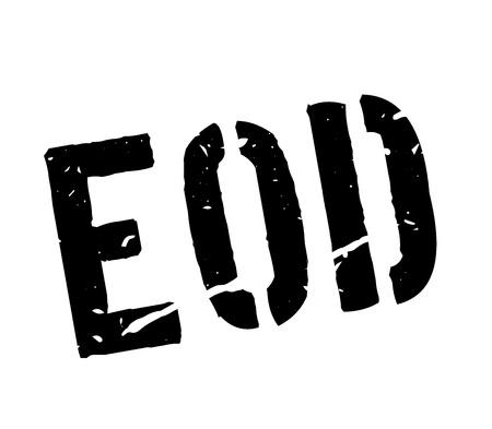 EOD rubber stamp on white. Print, impress, overprint. Explosive Ordnance Disposal label.