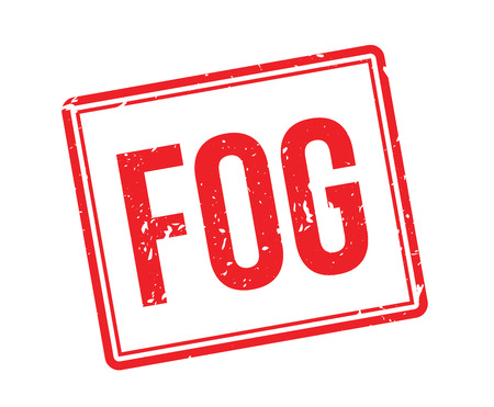 misty: Fog rubber stamp on white. Print, impress, overprint. Sign of poor visibility. Warning sign for weather forecast. Misty, foggy, smoggy weather conditions.