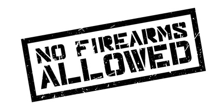 firearms: No Firearms Allowed rubber stamp on white. Print, impress, overprint. Illustration