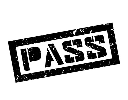 allowed to pass: Pass rubber stamp on white. Print, impress, overprint. Sign of product tested, proved, confirmed. Permission and confirmation label, sign of quality. Access granted. Illustration