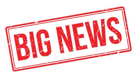 big break: Big News rubber stamp on white. Print, impress, overprint.