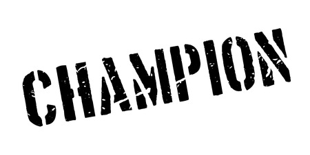 congratulations sign: Champion rubber stamp on white. Print, impress, overprint. Sign of highest achievement, medalist person. The greatest in the field. Sign of acknowledgement and congratulations. The winner sign.