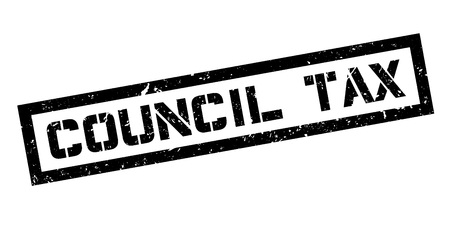 council: Council Tax rubber stamp on white. Print, impress, overprint.